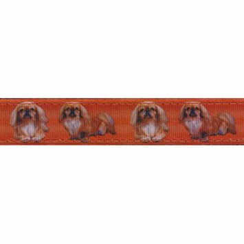 Country Brook Design® 3/4 Inch Pekingese Ribbon Double Sided Dog Leash - 2 Foot