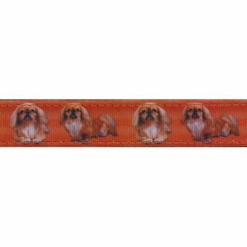Country Brook Design® 3/4 Inch Pekingese Ribbon Double Sided Dog Leash - 6 Foot