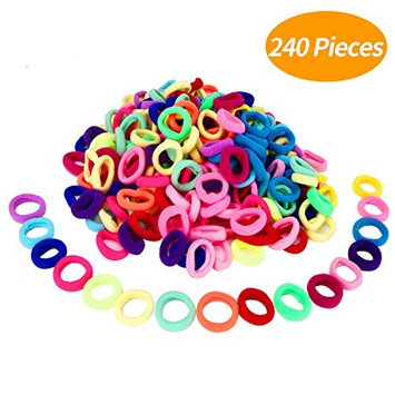 Senkary 240 Pieces Baby Girl Elastic Hair Ties Small Rubber Hair Bands Elastics Ponytail Holder for Kids Toddler Infants, Assorted Colors