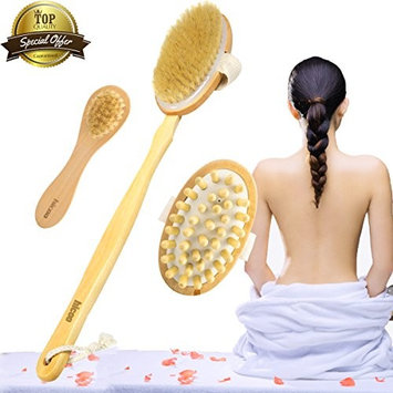 Dry Brushing Body Brush Brushes Back Scrubber Scratcher Shower Bath Face Brush Gift Set Kit Loofah Brush with Extra Long Handle Wooden Skin Cellulite Massager for Body Men Women Natural Bristle
