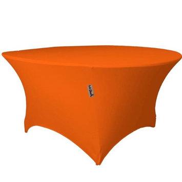 LA Linen TCSpandex72Rx30H-OrangeX48 Round Spandex Tablecloth Orange - 72 x 30 in.