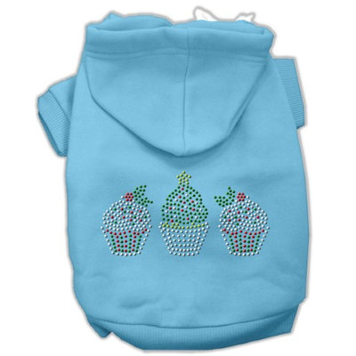 Mirage Pet Products 54-25-22 XXXLBBL Christmas Cupcakes Rhinestone Hoodie Baby Blue XXXL- 20