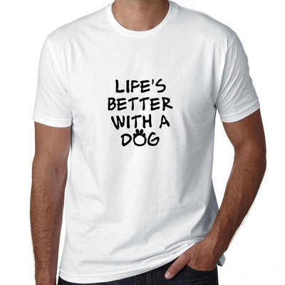 Life's Better with a Dog - Dog Lover Paw Print Men's T-Shirt