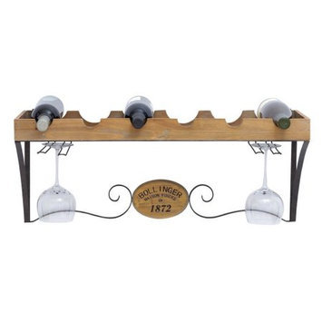 Woodland Import 56141 Wine Rack with Scrolls and Wood Grain Texture