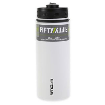 Fifty Fifty FiftyFifty White Vacuum-Insulated Stainless Steel Bottle with Wide Mouth - 18 oz. Capacity