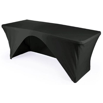 LA Linen TCSpandex-OB96x30x30-BlackX24 Rectangular Open Back Spandex Tablecloth Black - 96 x 30 x 30 in.