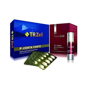 TR Zell P-Centa Forte Sheep Placenta Extract Supplement & SwissZell Transdermal Cellular Therapy Serum Combo Set