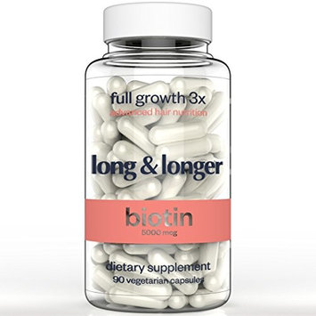 Hair Vitamins Created by Cancer Survivor - 90 Vegan Caps - for Hair, Skin and Nail - Formulated with Biotin 5000 mcg , MSM, Bamboo and More
