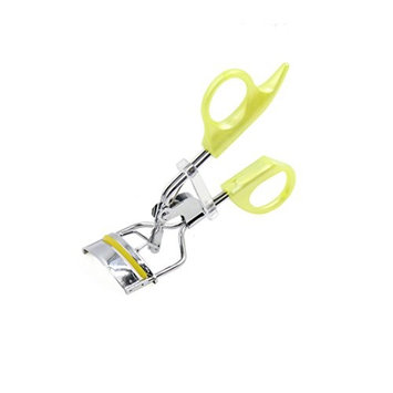 uxcell Yellow Fluorescent Swallow Tail Handle Eye Curling Eyelash Curler Clip Beauty Makeup Tool