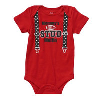 Heart Infant Boys Red Mommys Little Stud Muffin Valentines Day Creeper Bodysuit 0-3m