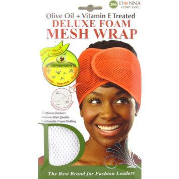 Donna Deluxe Foam Mesh Wrap, Olive Oil + Vitamin E Treated - #22007 White, Improves hair quality, foam padding