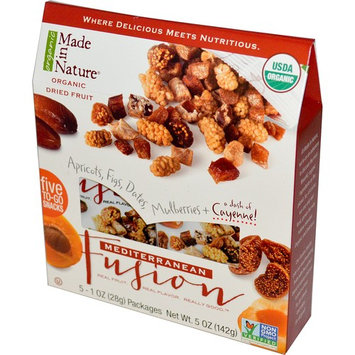 Made in Nature, Organic Fruit Fusion, Mediterranean Supersnacks, 5 Packages, 1 oz (28 g) Each [Flavor : Mediterranean Fusion]