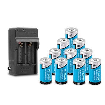 16340/ RCR123A Rechargeable Lithium Battery, Zeasun 10 Pack 800 mAh 3.7V Battery+16340 Charger