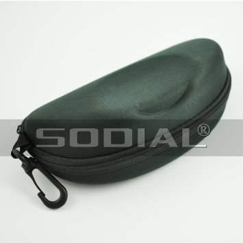 SODIAL(R) Black Oval Shaped Zip Closure Eye Glasses Eyeglass Holder Case Box