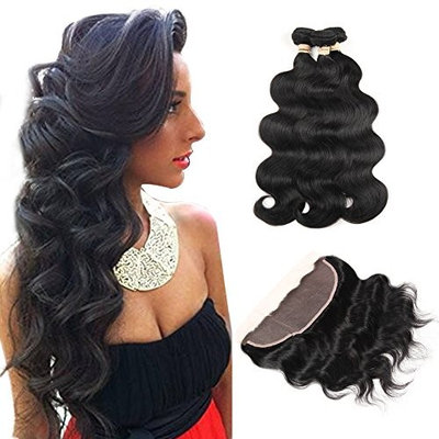 ALOT Hair 100% Unprocessed Brazilian Real Human Hair 3 Bundles with 13×4 Ear to Ear Lace Frontal Closure, Body Weave Hair Extensions , Natural Color Weft