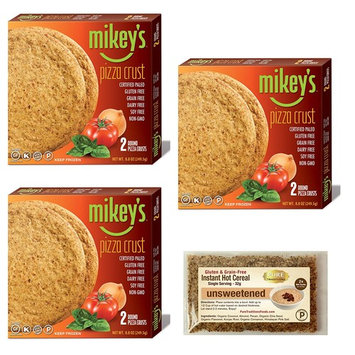3 Pack of Mikey's Certified Paleo Pizza Crusts, 2 crusts per pack, (3 Packs = 6 Crusts Total) with Pure Traditions Trial Size Grain-free, Low Carb, Instant Hot Unsweet Cereal