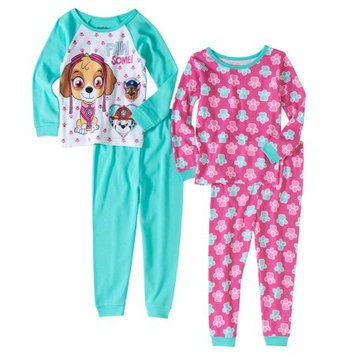 Paw Patrol Baby Toddler Girls' Cotton Tight Fit Pajamas, 4-Piece Set