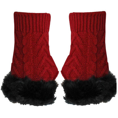 Arm Warmer Gloves With Faux Fur Trim