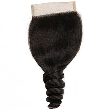 Beauty Forever Brazilian Loose Wave Hair 4x4 inch Free Part Lace Closure 100% Human Virgin Hair (16 inch)