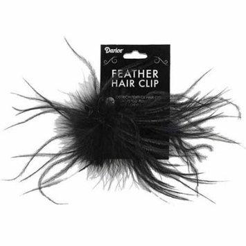 Ostrich Feather Hair Clip 1/Pkg-Black