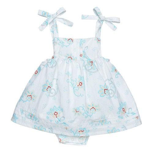 Under the Nile Organic Cotton Bubble Dress w/ Pin tucks - Princess Petal Poplin - 3-6m [baby_clothing_size: baby_clothing_size-3-6m]
