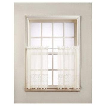 Joy Classic Lace Kitchen Curtain Tier Pair Ivory (30