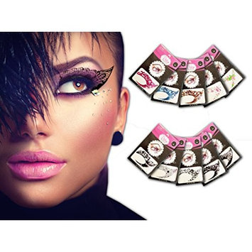 Temporary Eye Tattoo 10 PAIRS - Transfer Eyeshadow and Eyeliner Stickers by Pinky Petals