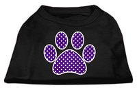 Mirage Pet Products 51-106 SMBK Purple Swiss Dot Paw Screen Print Shirt Black Sm - 10