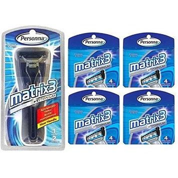 Personna Matrix3 Advanced Triple Blade Razor Handle + Matrix3 Titanium Triple Blade Refill Cartridge Blades, 4 Ct. (Pack of 4) + FREE Luxury Luffa Loofah Bath Sponge On A Rope, Color May Vary