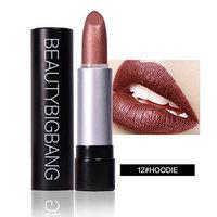 BEAUTYBIGBANG Lipstick Lip Cosmetics Pigment 12 Colors Long Lasting Matte Sexy Lips Metallic Lipstick