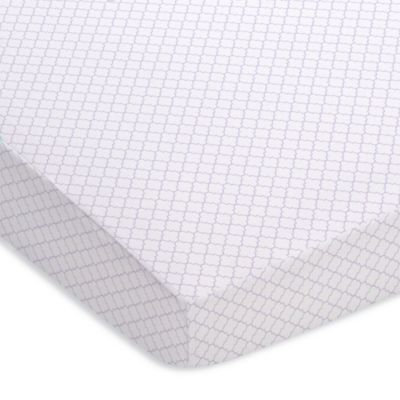Fitted Crib Sheet - Moroccan Design - White & Lavender (Purple)