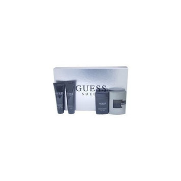 Guess Suede By Guess 4 Piece Set: 2.5 Oz EDT Spray+ 3.0 Oz After Shave Balm+ 3.0 Oz Hair & Body Wash+2.5 Oz Alcohol-free Deodorant Stick