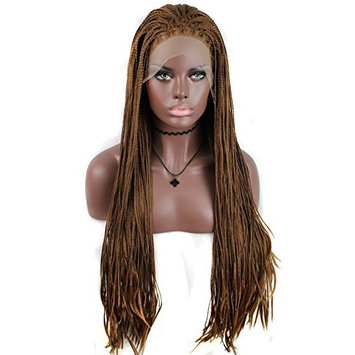 Anogol Hair Cap+26'' Micro Lace Wig Braids Synthetic Lace Front Wigs Straight X-Braided Heat Resistant Hair