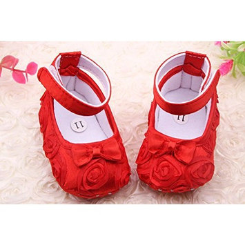 Flyyfree Cute Newborn Baby Girl First Walking Shoes 11cm Red