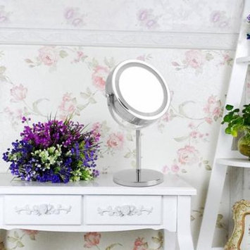 Practical Double Side Vanity Makeup Mirror LED Lighted Tabletop 5X Magnifying Cosmetic 360 Degree Swivel Rotation