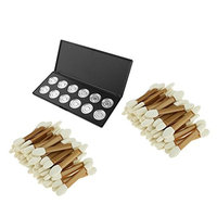 MagiDeal 100pcs Disposable Brush with12 Grids Empty Magnetic Cosmetics Makeup Eyeshadow Eye Shadow Blush Face Powder Lip Gloss Aluminum Palette Pans