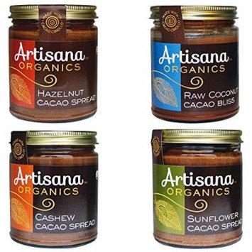 Artisana Organics - Cacao Spreads Variety 4-Pack, USDA Organic Certified and Non-GMO (Cashew, Hazelnut, Sunflower and Coconut Bliss, 8 oz)