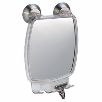 InterDesign Forma Power Lock - Shower Shaving Mirror with Razor Holder and Suction Cup - Clear - 2.2 x 5.8 x 8.5 inches