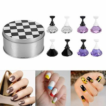 Beauty Nail Art Holder Strong Chess Board Magnetic Crystal Nail Tips Practice Salon Display Unha Stand Gel Polish Manicure (White)
