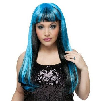Black and Neon Blue Women's Wig