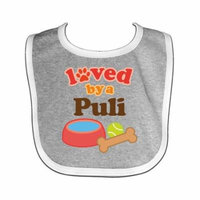 Puli Loved By A (Dog Breed) Baby Bib Heather/White One Size