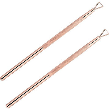 Hestya 2 Pieces Cuticle Peeler Stainless Steel Triangle Manicure Cuticle Pusher Nail Polish Remover Art Tools (Rose G