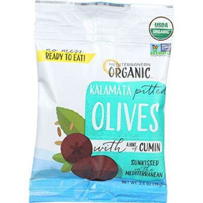 editerranean Organic - Kalamata Pitted Olives with Cumin - Snack Pack - 2.5 oz - Case of 12 - Non GMO - Dairy Free - Yeast Free - Wheat Free - Vegan