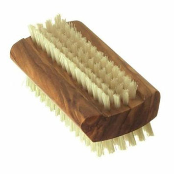 Hydrea London Olive Wood Pure Bristle Nail Brush, Hard Strength, Large