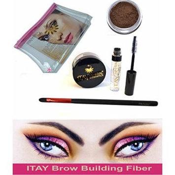 Itay Beauty Brow Building Fibers Set Clear Gel Setting (Fibers + Clear defining Gel) (Medium Brown)
