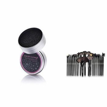 Zodaca 32 Pcs Makeup Brush Set with Pouch Bag + Brush Color Removal Sponge, Swiftly Switch /Remove Shadow Color, Black