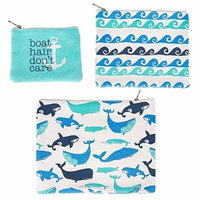 Boat Hair Don't Care Whale Waves Blue Canvas Zippered Storage Pouches Set of 3