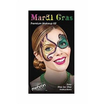 Mardi Gras Carnival Character Face Makeup Kit By Mehron - Eye Mask Professional Masquerade Make Up Tools Set - Palette, Eye Stencils, Brushes, Lip Cream, Party Necklaces, Wipes & Instructions Booklet