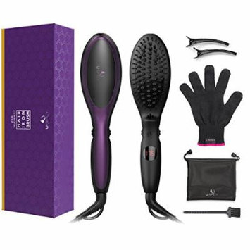 USpicy Hair Straightening Brush with Negative Ions Technology And Slide Temperature Control (Heats up Fast, Auto-Lock Function & Auto-Shut-Off Function, Innovative Bristle Design)