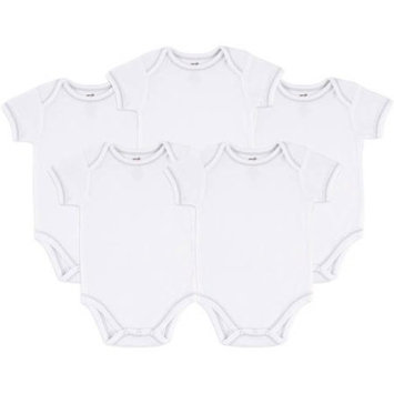 Touched by Nature Newborn Baby Neutral Organic 5 Pack White Bodysuit